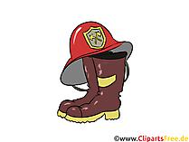 Feuerwehrhelm und Stiefel Cliparts, Bilder, Cartoons