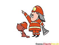 Feuerwehrhund und Feuerwehrmann Illustration, Bild, Clipart gratis