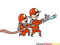 Feuerwehrmänner löschen Feuer Illustration, Bild, Grafik, Comic