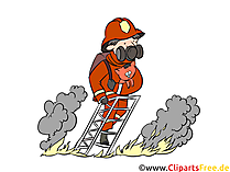 Feuerwehrmann auf Leiter Illustration, Bild, Clipart gratis