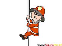 Feuerwehrmann gleitet hinunter den Pfosten Illustration, Cartoon, Comic