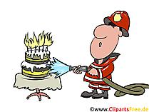 Feuerwehrmann mit Wasserschlauch Illustration, Bild, Clipart gratis