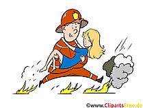 Feuerwehrmann rettet eine Frau Illustration, Clipart, Bild