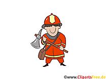 Mann mit Axt, Feuerwehr Illustration, Comic, Bild, Cartoon