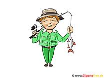 Fiskare clipart, bild, tecknad film, illustration gratis