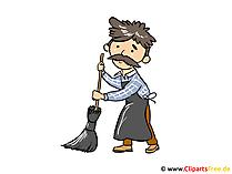 Caretaker, Street Sweeper Clipart, Image, Cartoon Free