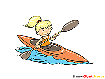 Canoeing image, clipart, cartoon free