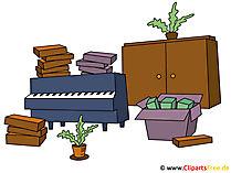 Kostenloses Bild Klavier, Schrank, Karton, Blumentopf