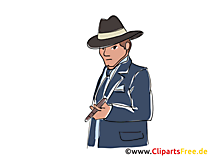 Polisinspektör från serietidning, clipart, bild, bokillustration, grafik, tecknad film