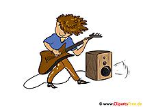 Rockmusiker clipart, bild, illustration, tecknad film