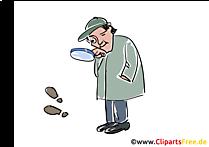 Sherlock Holmes Clipart zoekt naar sporen