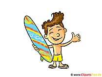 Surfer Clipart, afbeelding, cartoon gratis