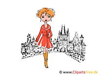 Het mooie meisjes stellen Clipart, illustraties, beelden