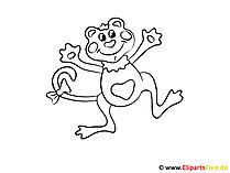 Affe Bild zum Ausmalen und Drucken