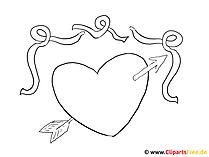Ausmalbild Herz mit Pfeil