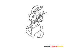 Strona malująca króliczka wielkanocnego