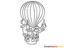 熱気球を表現するための子供のための着色のページ