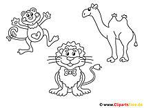 ぬりえページテンプレート無料 - アフリカの動物