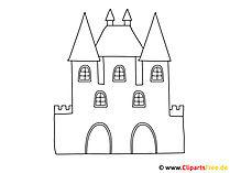 Ausmalbilder zum Ausdrucken gratis Schloss