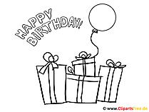 誕生日プレゼントの着色ページ