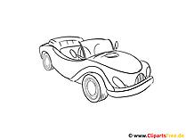 Bild zum Abmalen Auto, Kfz, PKW, Cabrio