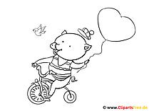Bilder zum Nachmalen - Schwein auf dem Fahrrad