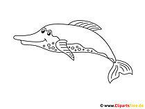 海の動物をテーマにしたイルカの絵を着色
