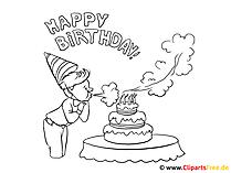 Tort urodzinowy dla dzieci Obraz do kolorowania