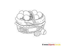 イースターの卵の着色のページ付きバスケット