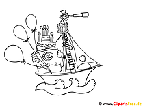 Lustige Bilder malen Piratenschiff