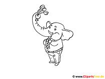 Malbilder zum Ausdrucken - Elefant mit Blumenstrauss