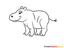 Kolorowanka dla małych dzieci Hippo