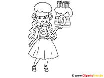 ぬりえ - 誕生日の人形