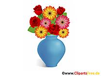 Blumenstrauss in Vase Clipart, Bild, Illustration, Grafik zum Drucken