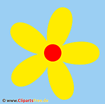 クリップアート黄色の花に青色の背景色
