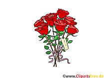 Clipart del mazzo delle rose rosse, grafica, immagine, illustrazione