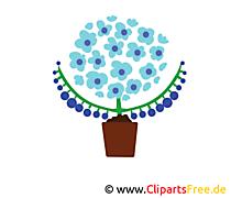 Güzel Mavi Çiçekler Clipa Sanat İllüstrasyon