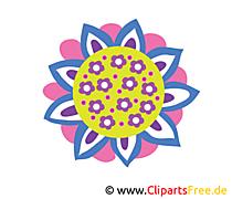 Piękny kolorowy kwiat obraz, clipart, kreskówka, ilustracja