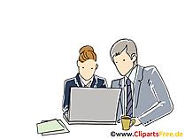 Arbeit am Notebook im Büro Clipart, Grafik, Bild
