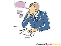 Büromitarbeiter mit Sprechblasen Clipart