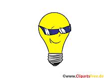 クールなサングラスをかけたクリップアート電球