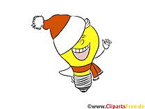 クリスマス、新年、大晦日のクリップアート面白い電球