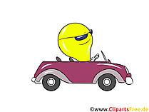 車の画像、クリップアートで漫画の電球ドライブ