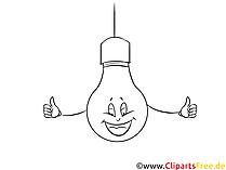 イラスト黒と白の電球