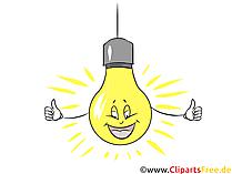 笑う漫画の電球が無料でクリップアートをオンにしました