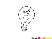 黒と白のクリップアート電球
