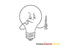 黒と白の電球のクリップアート