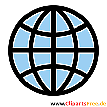 Icon Globus blau-weiss-schwarz Bild, Clipart, Grafik