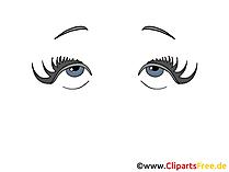 女性の目の絵、デッサン、漫画