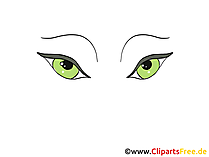 緑色の目の絵、デッサン、漫画
